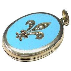 Antique Victorian 9k 9ct Gold Back & Front Blue Enamel Seed Pearl Garnet Locket Pendant