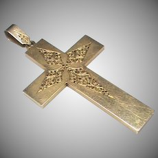 Large Antique Victorian French 18k 18ct Gold Cross Pendant