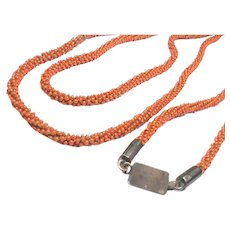 Antique Georgian Long faux coral Necklace with 9k 9ct Gold clasp