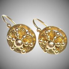 Antique Victorian 18k 18ct Gold French Earrings