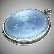 Antique Edwardian Silver Enamel Locket Pendant