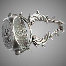 Antique Georgian 18th Century Steel Intaglio swivel Seal Wheel LOVE FINDS WAY Cupid WITH GOD Ship