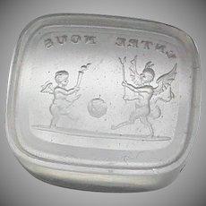 Antique 19th Century Loose Glass Intaglio Tassie Seal - Devil Cupid BETWEEN US World