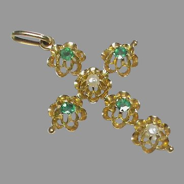Antique c1900 18k 18ct Gold Emerald & Seed Pearl Cross Pendant