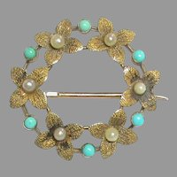 Antique Edwardian 15k 15ct Gold Seed Pearl & Turquoise Brooch