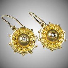 Antique Victorian 18k 18ct Gold Diamond Earrings