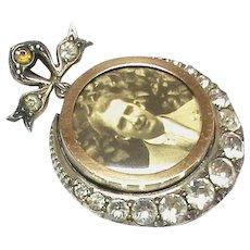 Antique Edwardian 1902 Sterling Silver Paste Double Sided Paste Locket Pendant