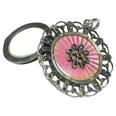 Antique Edwardian Silver 900 Pink Enamel Marcasite Locket Pendant