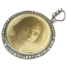 Large Antique Edwardian Sterling Silver Paste Double Sided Locket Pendant
