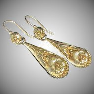 Antique early Victorian c1840 Gilt Metal Earrings