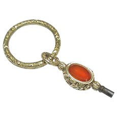 Antique Victorian Agate Watch Key on a Large Split Ring