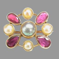 Antique Victorian 15k 15ct Gold Cultured Pearl & Pink Spinel Brooch