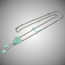 Antique Victorian Silver Turquoise Heart Necklace