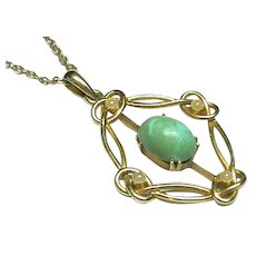 Antique Art Nouveau Edwardian 1908 15k 15ct Gold Turquoise Seed Pearl Pendant & Chain Necklace