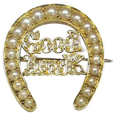 Gorgeous Antique Victorian 1881 15k 15ct Gold Seed Pearl & Diamond GOOD LUCK Horseshoe Brooch