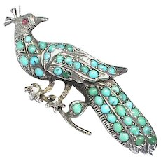 Antique Victorian Sterling Silver Turquoise Peacock Brooch