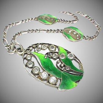 Antique Art Nouveau Silver 900 Enamel & Paste Necklace
