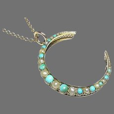 Antique Victorian c1900 9ct Turquoise & Seed Pearl Moon Crescent Pendant Necklace on gold chain Murrle Bennett