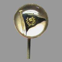 Antique Victorian 9k 9ct Gold Essex Crystal Flag Stickpin