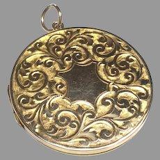 LARGE Antique 9k 9ct Gold Back & Front Locket Pendant