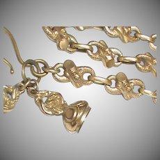 Antique Victorian Gilt Metal SNAKE Watch Chain & Seal