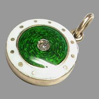 Antique Victorian 9k 9ct Gold Enamel Seed Pearl Locket Charm or small Pendant