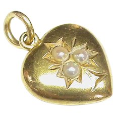 Antique Victorian 15k 15ct Gold Seed Pearl Heart Charm