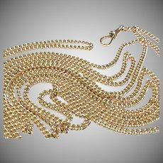 "Antique Victorian c1900 9k 9ct Gold Long Guard Chain Necklace 58"" 31.4g"