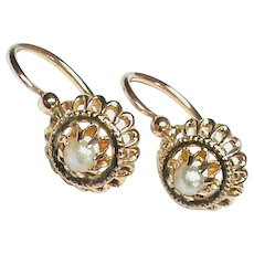 Antique Victorian c1900 French 18k 18ct Gold Seed Pearl Earrings