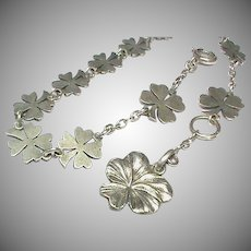 Antique Victorian c1900 Silver 800-900 Lucky Four Leaf Clover Bracelet with Pansy Charm