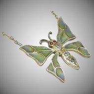 Antique Art Nouveau Plique-a-Jour Enamel Butterfly Necklace