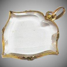 Antique Edwardian French 18k 18ct Gold Double Sided Locket Pendant - heart shaped