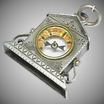 Antique Victorian 1897 Sterling Silver Clock Compass Fob