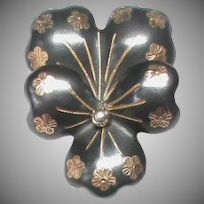 Antique French 19th Century Silver Niello PANSY Brooch