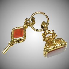 Antique Victorian Gold Filled Agate & Amethyst Watch Key & Seal on Large Split Ring