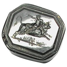 Antique 19th Century Loose Glass Intaglio Tassie Seal - Lady riding Bull