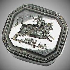 Antique 19th Century Loose Glass Intaglio Tassie Seal - Lady riding Bull