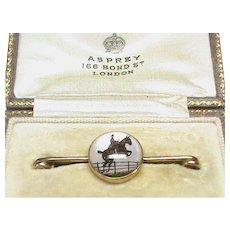 Antique Edwardian 18k 18ct Gold Essex Crystal Horse Jumper Brooch in original ASPREY Box