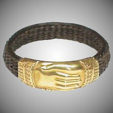 Large Antique 19th Century French 18k 18ct Gold FRIENDSHIP Hand & Hair Ring