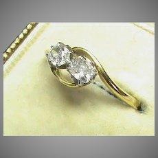 Vintage 18k 18ct Gold Diamond Ring in box