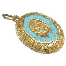 Antique Victorian 15k 15ct Gold Blue Enamel Locket Pendant Charm