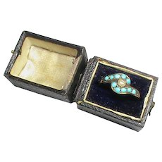 Antique 19th Century 9k 9ct Gold Turquoise & Seed Pearl Ring in box