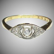 Vintage Art Deco 18k 18ct Gold Diamond Ring