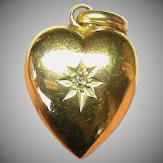 Antique Victorian 1899 15k 15ct Gold Diamond Heart Charm
