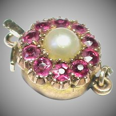 Antique Victorian 9k 9ct Gold Ruby Pearl Clasp