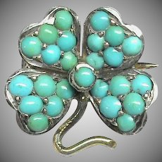Antique Victorian c1900 Silver 800 Turquoise Lucky Four Leaf Clover Brooch