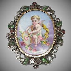 Antique Victorian Silver hand painted Miniature Cupid Garnet Seed Pearl & Paste Locket Brooch