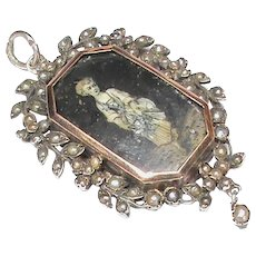 Antique Victorian French Silver 800-900 Seed Pearl Miniature Locket Pendant