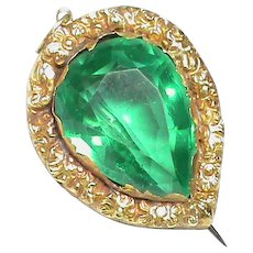 Antique Georgian 15k 15ct Gold Green Paste Pendant / Brooch