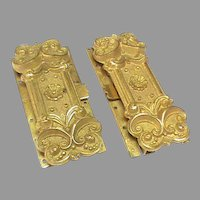 Matching Pair of Wide Antique Georgian gilt metal Clasps